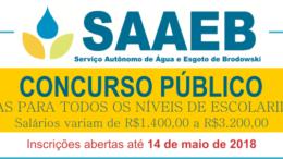 Concurso Público SAAEB Brodowski / Realização: Instituto Mais / Imagem: Divulgação
