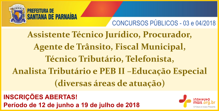 Concursos Públicos da Prefeitura de Santana de Parnaíba / Realização: Instituto Mais / Imagem: Divulgação