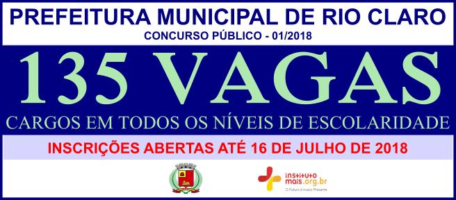 Concurso Público da Prefeitura de Rio Claro / Realização: Instituto Mais / Imagem: Divulgação