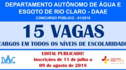 Concurso Público do DAAE - Rio Claro / Realização: Instituto Mais / Imagem: Divulgação
