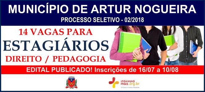 Processo Seletivo 02/2018 do Município de Artur Nogueira / Realização: Instituto Mais / Imagem: Divulgação