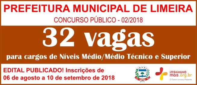 Concurso Público 02/2018 da Prefeitura de Limeira / Realização: Instituto Mais / Imagem: Divulgação