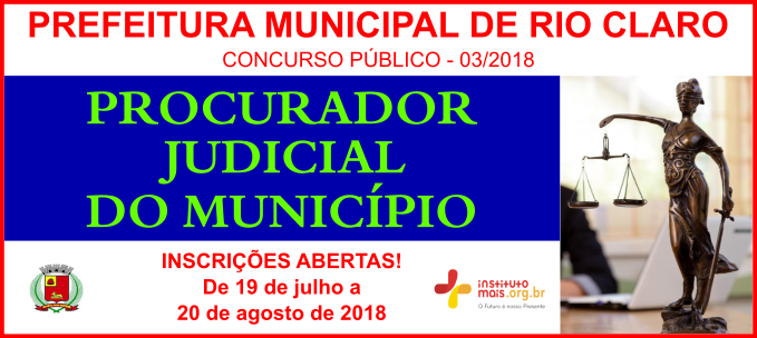 Concurso Público 03/2018 da Prefeitura de Rio Claro / Realização: Instituto Mais / Imagem: Divulgação