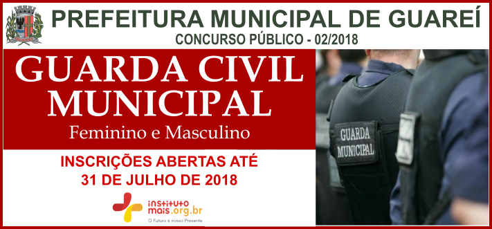Concurso para GCM em Guareí / Realização: Instituto Mais / Imagem: Divulgação