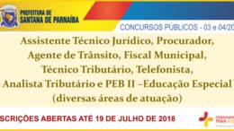 Concursos Públicos da Prefeitura de Santana de Parnaíba - Editais 03 e 04/2018 / Realização: Instituto Mais / Imagem: Divulgação