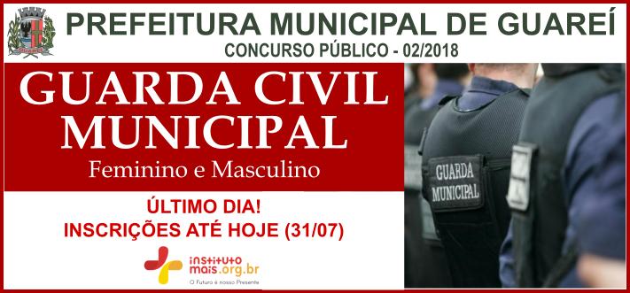 Concurso Público para GCM da Prefeitura de Guareí / Realização: Instituto Mais / Imagem: Divulgação
