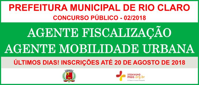 Concurso Público 02/2018 da Prefeitura de Rio Claro / Realização: Instituto Mais / Imagem: Divulgação