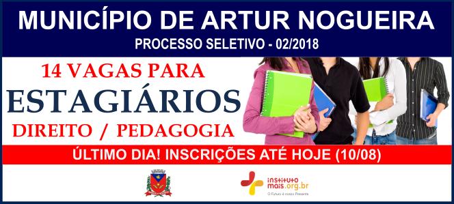 Processo Seletivo 02/2018 para Estagiário do Município de Artur Nogueira / Realização: Instituto Mais / Imagem: Divulgação