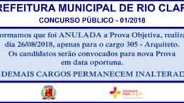 Concurso Público 01/2018 da Prefeitura de Rio Claro / Realização: Instituto Mais / Imagem: Divulgação