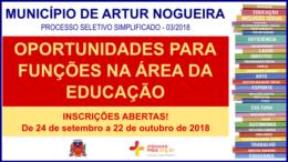 Processo Seletivo Simplificado 03/2018 do Município de Artur Nogueira / Realização: Instituto Mais / Imagem: Divulgação