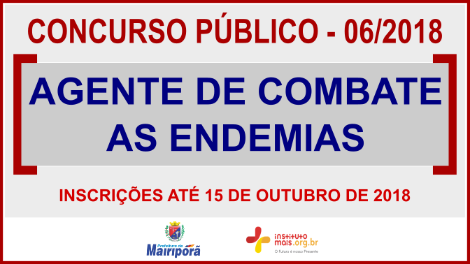 Concurso Público 06/2018 da Prefeitura de Mairiporã / Realização: Instituto Mais / Imagem: Divulgação