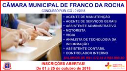 Concurso Público 01/2018 da Câmara de Franco da Rocha / Realização: Instituto Mais / Imagem: Divulgação