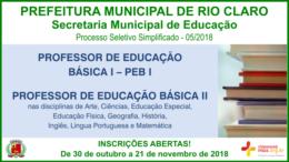 Processo Seletivo Simplificado 05/2018 da Secretaria Municipal de Educação de Rio Claro / Realização: Instituto Mais / Imagem: Divulgação