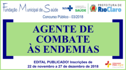 Concurso Público 03/2018 da Fundação de Saúde de Rio Claro / Realização: Instituto Mais / Imagem: Divulgação