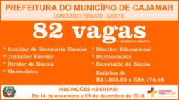 Concurso Público 02/2018 da Prefeitura de Cajamar / Realização: Instituto Mais / Imagem: Divulgação