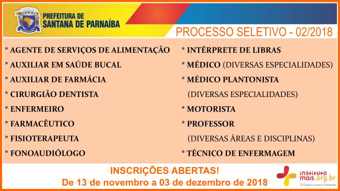 Processo Seletivo 02/2018 da Prefeitura de Santana de Parnaíba / Realização: Instituto Mais / Imagem: Divulgação