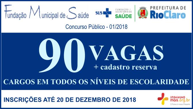 Concurso Público 01/2018 da Fundação de Saúde de Rio Claro / Realização: Instituto Mais / Imagem: Divulgação