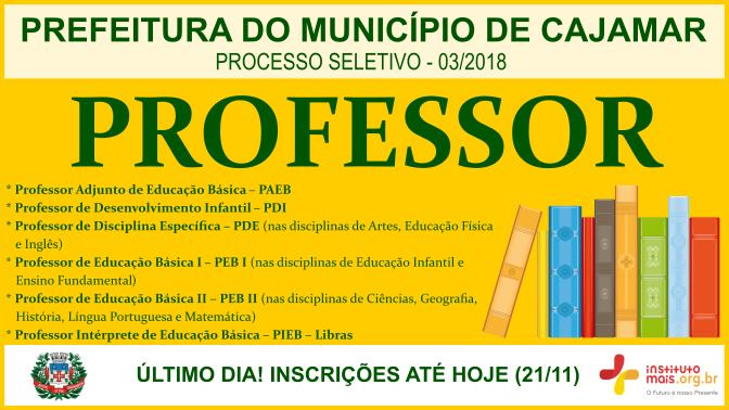 Processo Seletivo 03/2018 da Prefeitura de Cajamar / Realização: Instituto Mais / Imagem: Divulgação
