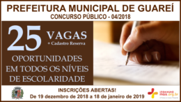 Concurso Público 04/2018 da Prefeitura de Guareí / Realização: Instituto Mais / Imagem: Divulgação
