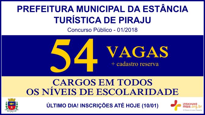 Concurso Público 01/2018 da Prefeitura de Piraju / Realização: Instituto Mais / Imagem: Divulgação