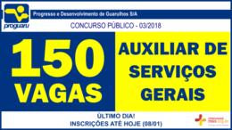 Concurso Público 03/2018 da PROGUARU / Realização: Instituto Mais / Imagem: Divulgação