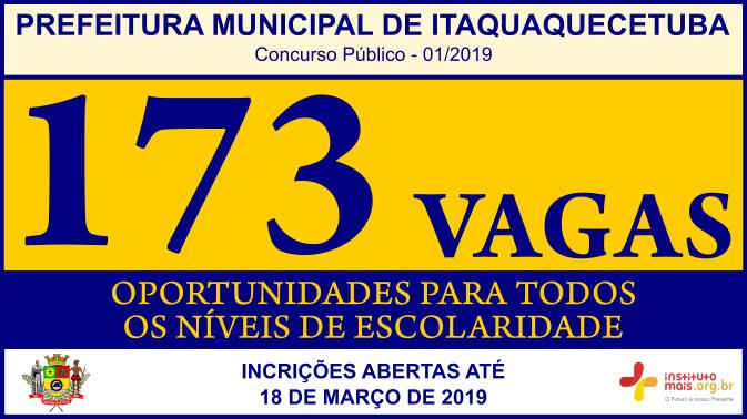 Concurso Público 01/2019 da Prefeitura de Itaquaquecetuba / Realização: Instituto Mais / Imagem: Divulgação