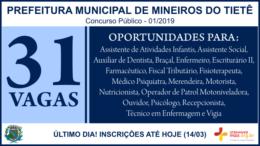 Concurso Público 01/2019 da Prefeitura de Mineiros do Tietê / Realização: Instituto Mais / Imagem: Divulgação
