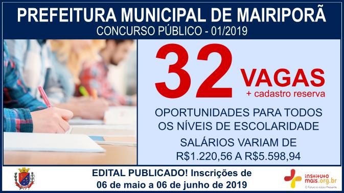 Concurso Público 01/2019 da Prefeitura de Mairiporã / Realização: Instituto Mais / Imagem: Divulgação
