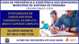 Concurso Público 01/2019 da Caixa de Previdência e Assistência dos Servidores Municipais de Santana de Parnaíba / Realização: Instituto Mais / Imagem: Divulgação