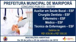 Concurso Público 03/2019 da Prefeitura de Mairiporã / Realização: Instituto Mais / Imagem: Divulgação