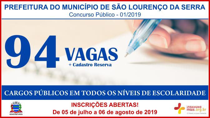 Concurso Público 01/2019 da Prefeitura de São Lourenço da Serra / Realização: Instituto Mais / Imagem: Divulgação