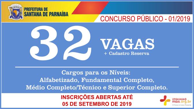 Concurso Público 01/2019 da Prefeitura de Santana de Parnaíba / Realização: Instituto Mais / Imagem: Divulgação