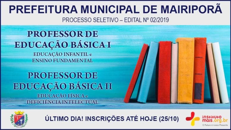 Processo Seletivo 02/2019 da Prefeitura de Mairiporã / Realização: Instituto Mais / Imagem: Divulgação