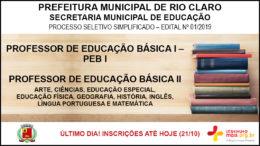 Processo Seletivo Simplificado 01/2019 da Secretaria Municipal de Educação de Rio Claro / Realização: Instituto Mais / Imagem: Divulgação