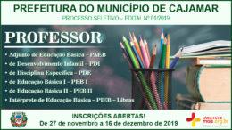 Processo Seletivo 01/2019 da Prefeitura de Cajamar / Realização: Instituto Mais / Imagem: Divulgação