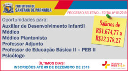 Processo Seletivo 01/2019 da Prefeitura de Santana de Parnaíba / Realização: Instituto Mais / Imagem: Divulgação