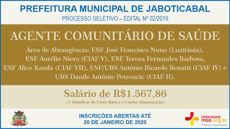 Processo Seletivo 02/2019 da Prefeitura de Jaboticabal / Realização: Instituto Mais / Imagem: Divulgação