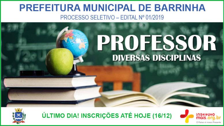 Processo Seletivo 01/2019 da Prefeitura de Barrinha / Realização: Instituto Mais / Imagem: Divulgação