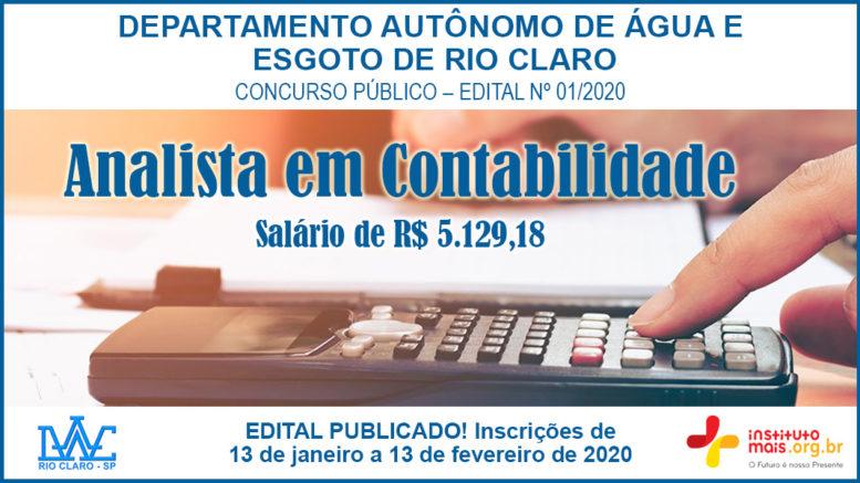 Concurso Público 01/2020 do DAAE - Rio Claro / Realização: Instituto Mais / Imagem: Divulgação