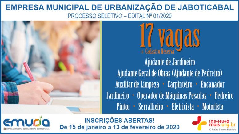 Processo Seletivo 01/2020 da EMURJA / Realização: Instituto Mais / Imagem: Divulgação