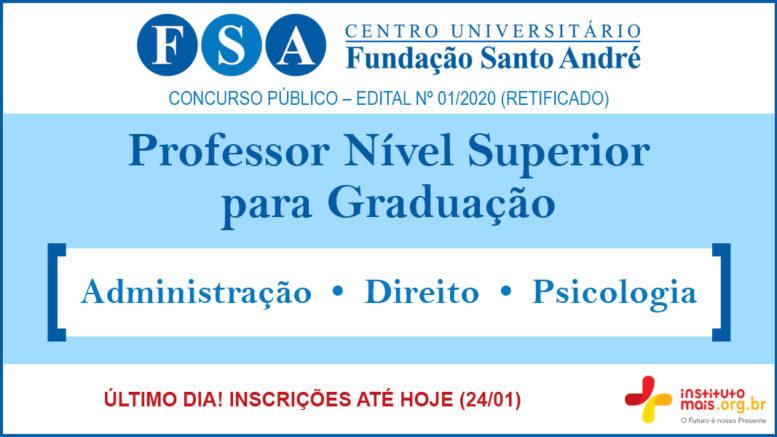 Concurso Público 01/2020 da Fundação Santo André / Realização: Instituto Mais / Imagem: Divulgação