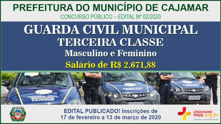 Concurso Público 02/2020 da Prefeitura de Cajamar / Realização: Instituto Mais / Imagem: Divulgação