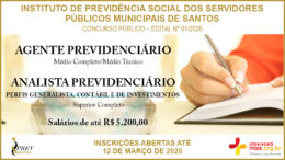 Concurso Público 01/2020 do IPREVSANTOS / Realização: Instituto Mais / Imagem: Divulgação