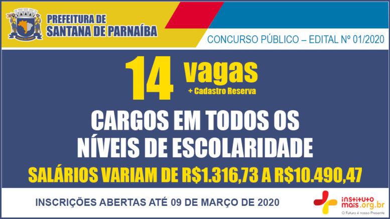 Concurso Público 01/2020 da Prefeitura de Santana de Parnaíba / Realização: Instituto Mais / Imagem: Divulgação
