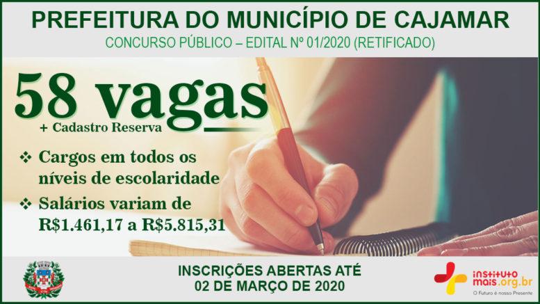 Concurso Público 01/2020 da Prefeitura de Cajamar / Realização: Instituto Mais / Imagem: Divulgação