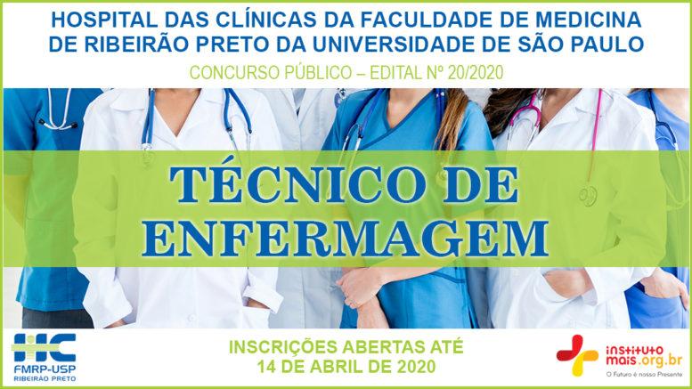 Concurso Público 20/2020 do Hospital das Clínicas da Faculdade de Medicina de Ribeirão Preto / Realização: Instituto Mais / Imagem: Divulgação