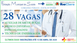 Concurso Público 01/2020 da Fundação de Saúde de Rio Claro / Realização: Instituto Mais / Imagem: Divulgação