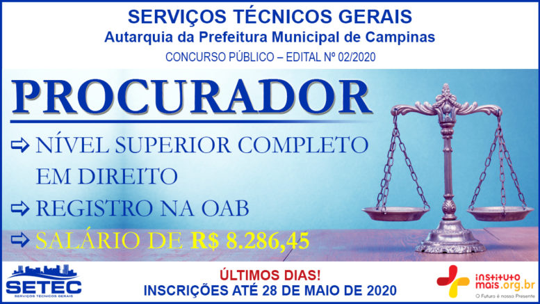Concurso Público 02/2020 da SETEC de Campinas / Realização: Instituto Mais / Imagem: Divulgação
