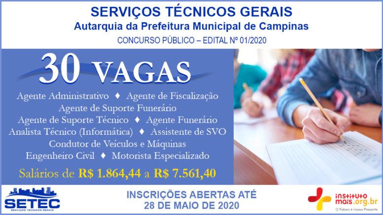 Concurso Público 01/2020 da SETEC de Campinas / Realização: Instituto Mais / Imagem: Divulgação
