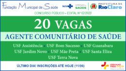 Concurso Público 02/2020 da Fundação de Saúde de Rio Claro / Realização: Instituto Mais / Imagem: Divulgação